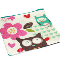 Knitting notions pouch, Notions Pouch, Coin purse Owl, Owl mini wallet, Owl credit card pouch, ouch pouch, Owl zipper coin purse