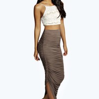 Julia Slinky Rouched Side Midi Skirt