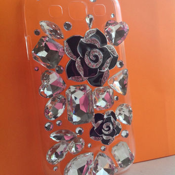 3D Fashion Bling Elegant Luxury Diamond Rhinestone Large Gems Black Flowers Roses Design Clear Hard Cover Case for Samsung Galaxy SIII S3