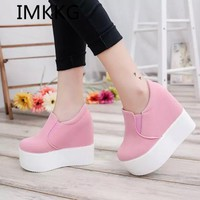 IMKKG New 2017 Women Boots Solid Soft High Heels Platform Wedge Autumn Shoes Woman Ankle Fashion Riding Boots S279