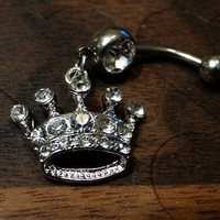 Rhinestone Crown Belly Button Ring