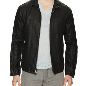 John Varvatos Collection Men's Zip Front Cotton Biker Jacket - Black