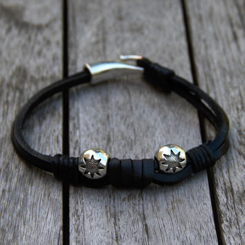 Silver Stars and Black Leather Bracelet