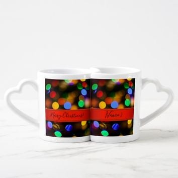 Multicolored Christmas lights. Add text or name. Coffee Mug Set