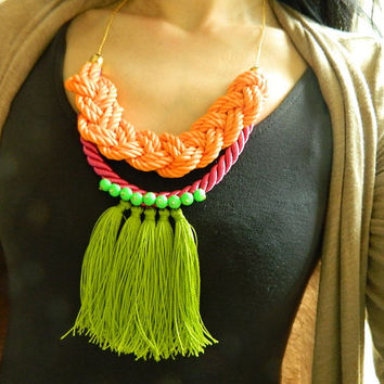 Neon Fringe Necklace Big Tassel necklace Statement Necklace Long Boho necklace Bib necklace Rope knot necklace fiber Necklace Eco friendly