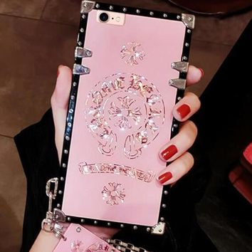 Chrome Hearts Fashion Individual Creative Luxury iPhone Phone Cover Case For iphone 6 6s 6plus 6s-plus 7 7plus 8 8plus X Pink I12410-1