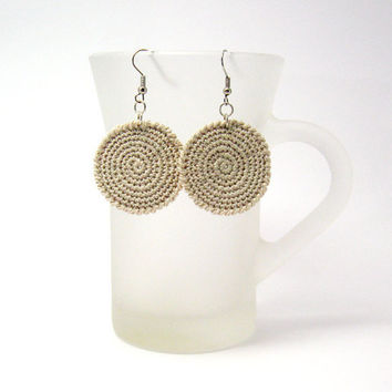 Crocheted Earrings Fabric Jewelry Beige Circles Cotton by Aimarro