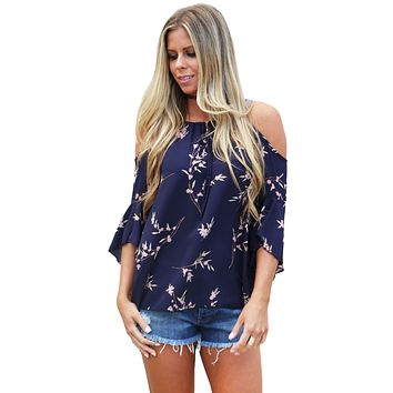 Navy Blue Cold Shoulder Spring Blossoms Top