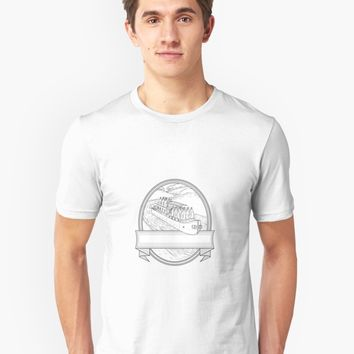 'Gin Bottles on Barge River Oval Line Drawing' T-Shirt by patrimonio