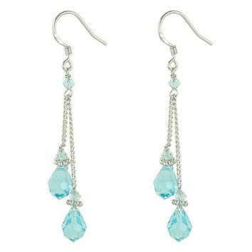 Simple Blue Swarovski Crystal Teardrop Fringe Dangle Earrings