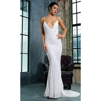 Feel The Spark White Sequin Geometric Pattern Sleeveless Spaghetti Strap Plunge V Neck Backless Mermaid Maxi Dress