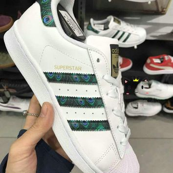 """Adidas"" Superstar Shell toe White/Peacock Green Casual Sneakers"