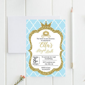 Cinderella birthday invitation, PRINTABLE invitation, princess party, cinderella invitation, cinderella birthday, princess birthday party