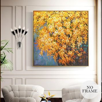 Modern Abstract Yellow Flowers Canvas Painting Golden Landscape Posters And Prints Wall Art Pictures For Living Room Home Decor