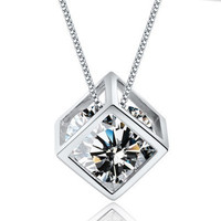 Sterling Silver Swiss Gemstone  Necklaces Women Fashion Jewelry