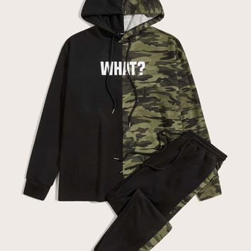 Men Camo and Letter Graphic Hoodie and Sweatpants Set