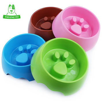 4 Color Cute Plastic Paw Print Slow Feeding Bowl for Dog and Cats