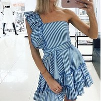 The new polyester-cotton dress with striped flounce