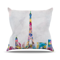 "Mareike Boehmer ""Paris"" City Rainbow Throw Pillow"