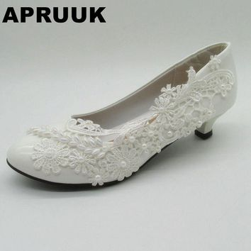 Lace wedding shoes women fashion delicate HANDMADE bridal woman's low small heel pearls wedding shoes on sales