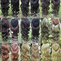"3/4 Half Wigs Hair Extensions,Body Wave Wigs ,Synthetic Hair Extensions, Heat Resistant,high Resistance synthetic fibre 24"",200g Full Long Curl European Trend hairpiece 10 colors available,1pc"