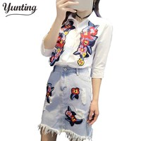 Women Bird Embroidered Shirts + Floral Embroidery Denim Skirt Two Piece Sets Ladies Blouses Jeans Skirts Tracksuits