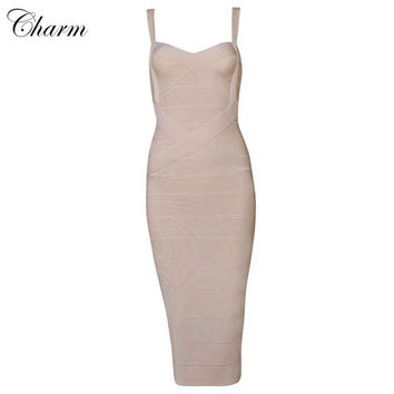 2016 New arrival nude spaghetti straps criss cross mid calf length bandage dress summer style evening party sleeveless dresses