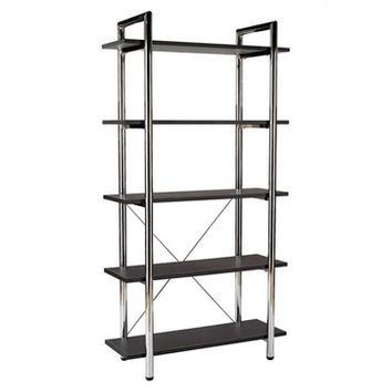 Eurostyle Laurence Leather 5 Shelf Bookcase in Black Leather & Chrome