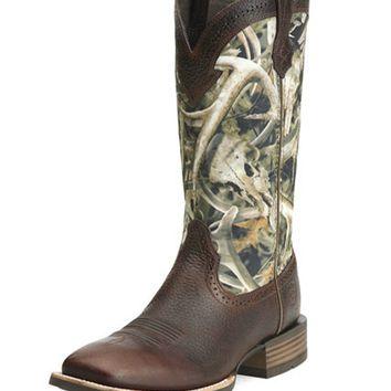 Ariat Quickdraw Square Toe Western Boot - Brown Oiled Rowdy/Bonz