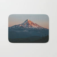 Mount Hood Sunset Bath Mat by Hillary Murphy