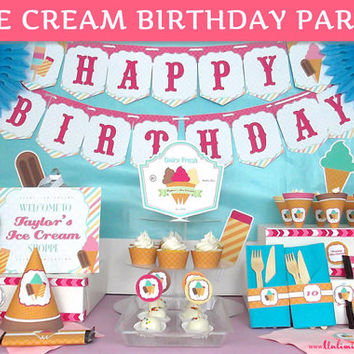 PRINTED Ice Cream Birthday Party Decorations - Ice Cream Party Decorations