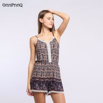 Bohemian Paisley Design High Waist Beach Romper With Spaghetti Straps and Lace Front.   7 Colors.   In Sizes From Large to 2XL.  **FREE SHIPPING**