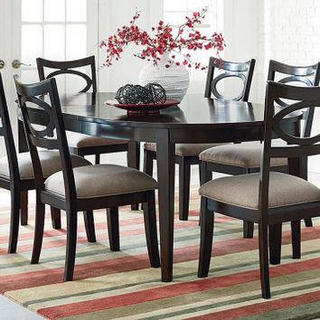 Merlot Brown Finish, Oval Shaped Table   Serenity 5 Piece Dining Set   American Freight