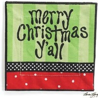 "Set Of 4 ""Merry Christmas Y'All"" Cotton Napkins Designed By Carla Grogan Unique Holiday Dining"