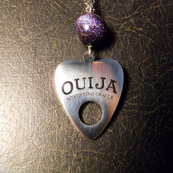 Ouija Board Planchette Under Galaxy Blue Goldstone Mystifying Oracle Talisman Long Necklace