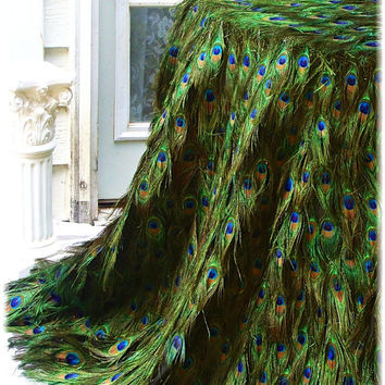 """Peacock Feather Tablecloth with EXTRA FLOOR INCHES - 24""""-60"""" Table Diameter - Custom Created for You!"""