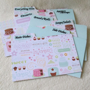 Dividers - Index Card Dividers - Recipe Dividers -  Recipe Box Dividers - Cupcake - Cake - Shower Gift - Wedding Gift