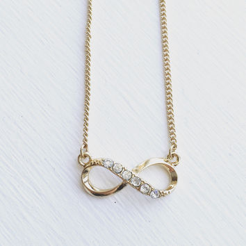 Infinity Rhinestone Necklace - Gold