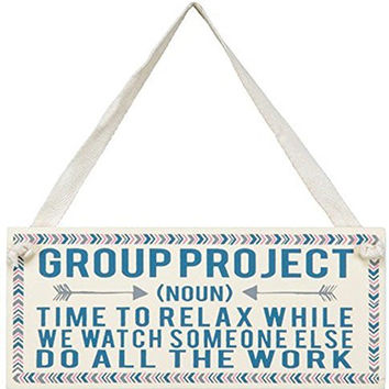 """Primitives by Kathy """"Group Project"""" Decorative Wooden Miniature Sign"""