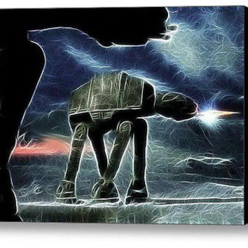 Magical At-At at Night Star Wars Framed 9X11inch Limited Edition Art Print w/COA