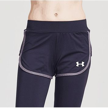 Under Armour Trending Women Stylish Sport Stretch Pants Fake Two Piece Yoga Trousers Sweatpants Grey