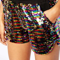 Story Of Lola Festival Mini Boxer Shorts In All Over Sequin Co-Ord CTA