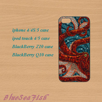 iphone 4 case,iphone 5 case,ipod touch 4 case,ipod touch 5 case,Blackberry z10 case,Blackberry q10--Mosaic Octopus,in plastic and silicone
