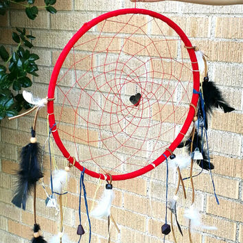 Large Red Dream Catcher for Home, 14 inch, Native American Art, Wall Hanging Home Decor, Leather & Feathers, OOAK One of a Kind
