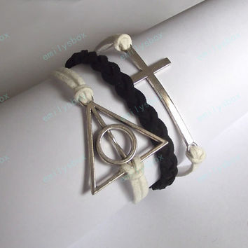 Cross Bracelet-Harry Potter Deathly Hallows Bracelet ,white an black symbol bracelet-birthday gifts