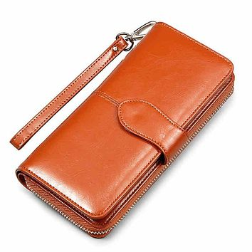 Hot Korean American Oil Wax wallet zipper note clip women card package mobile phone women clutch