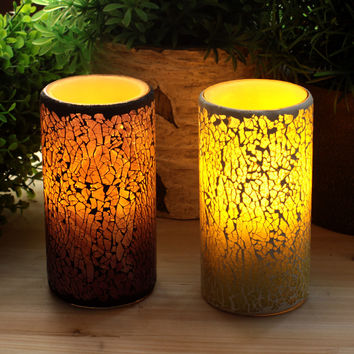 Battery Operated Glass Mosaic Flameless Real Wax Led Candle Lights With Timer,Home Party Decorations,3 X 6 Inch