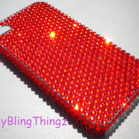 Hyacinth Tangerine Orange Crystal Diamond Rhinestone BLING Back Case for Apple iPhone 4 4G 4S made with Swarovski Elements