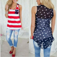 Womens USA American Flag Tank Top Stars Stripes
