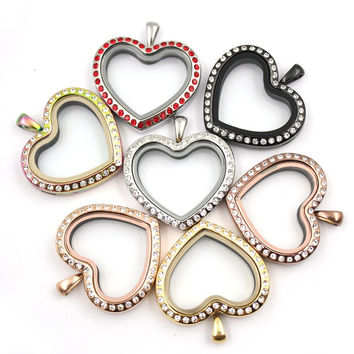 316L stainless steel heart shape floating locket charms memory Lockets